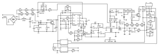 (Нажми для увеличения) Принципиальная схема блока заряда аккумуляторов ИБП Ippon, AEG, Mustek.